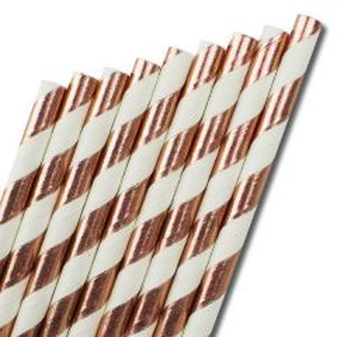 """Bronze & White Stripe Paper Straw 6mm Bore 8"""" / 20cm"""