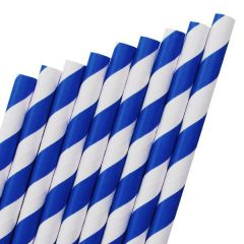 "Dark Blue & White Stripe Paper Straw 6mm Bore 8"" / 20cm"