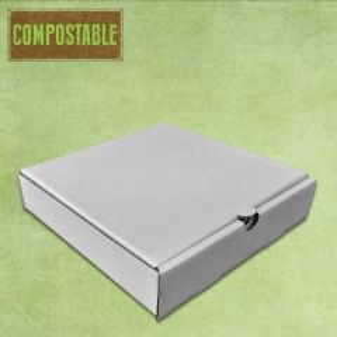 "Compostable Plain White Cardboard Pizza Delivery Box 7"" / 19cm"