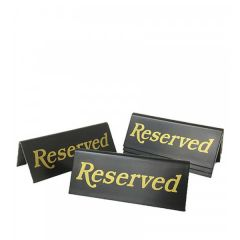 Tent Type Reserved Sign Gold / Black 45 x 110mm