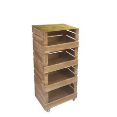4 Crate Rustic Brown Mobile Tower Storage Unit 500x370x1110mm