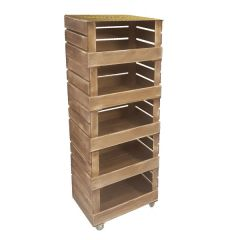 5 Crate Rustic Brown Mobile Tower Storage Unit 500x370x1368mm
