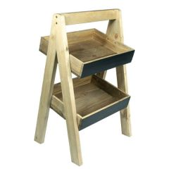 Rustic Blackboard 2 Tier Slanted Wooden A Frame Display Stand Light Out 316x250x500mm