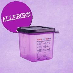 Araven Purple Allergen Gastronorm Container with Airtight Lid 1/6 150mm (2.6Ltr)