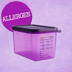 Araven Purple Allergen Gastronorm Container with Airtight Lid 1/2 150mm (10Ltr)