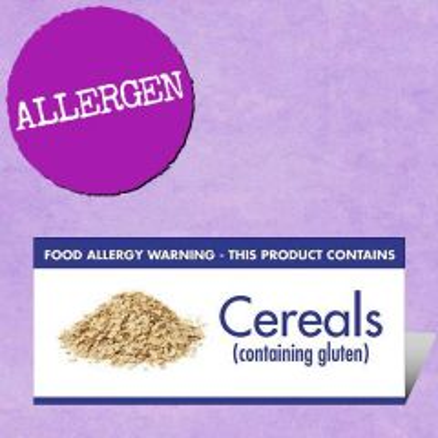 Food Allergen Buffet Notice Cereals Containing Gluten Warning 45x100mm