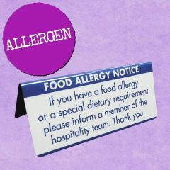 Food Allergy Notice Table Sign 45x100mm