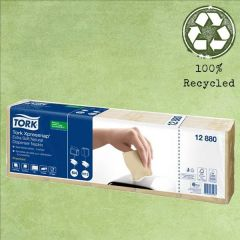 Tork N4 Xpressnap Natural '100% Recycled' Dispenser Napkin 2ply 21.3x16.5cm
