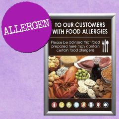 To Our Customers With Food Allergies Sign A5 supplied in Snap Frame