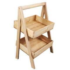 Rustic 2 Tier Slanted Wooded A Frame Display Stand 410x310x650mm