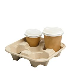 Colpac Moulded Pulp 4 Cup Carry Tray