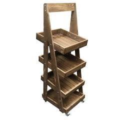 Rustic Brown Mobile 4 Tier Slanted Wooden A-Frame Display Stand 486x530x1455mm