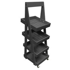 Amberley Grey Mobile 4 Tier Slanted Wooden A-Frame Display Stand 486x530x1455mm
