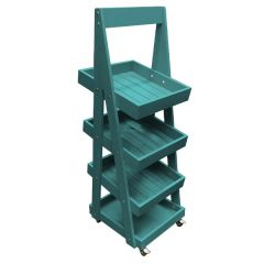 Turquoise Mobile 4 Tier Slanted Wooden A-Frame Display Stand 486x530x1455mm