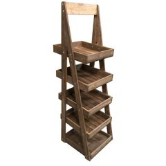 Rustic Brown Mobile 5-Tier Slanted Wooden A-Frame Display Stand 486x530x1765mm