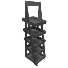 Amberley Grey Mobile 5 Tier Slanted Wooden A-Frame Display Stand 486x530x1455mm