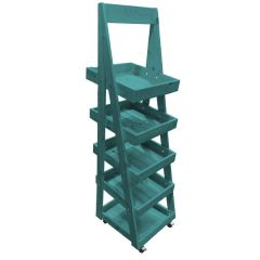 Turquoise Mobile 5 Tier Slanted Wooden A-Frame Display Stand 486x530x1455mm