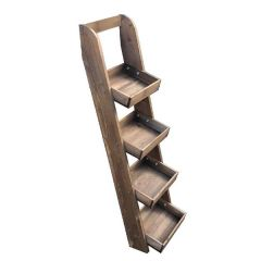 Rustic Brown 4 Tier Slim Slanted Wall Ladder Tray Display Stand 316x352x1135mm