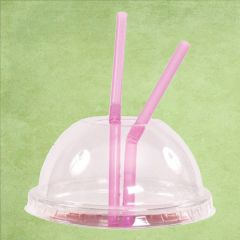 Disposable rPET Clear Domed Lid with Hole for Tulip Smoothie Cups 8, 10 & 12oz