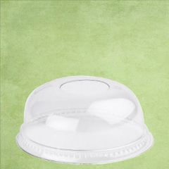 Disposable rPET Clear Domed Lid with Hole for Tulip Smoothie Cup 20oz