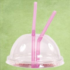 Disposable rPET Clear Domed Lid with Hole for Straight Shape Smoothie Cup 15oz / 42.5cl