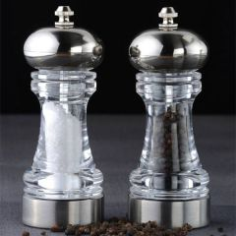 "David Mason Design York Clear Chrome Plated Acrylic Filled Salt & Pepper Mill Set 6"" / 15cm"