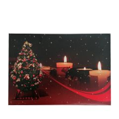 Clearance 4 LED Candle Wall Painting of Candles and Tree