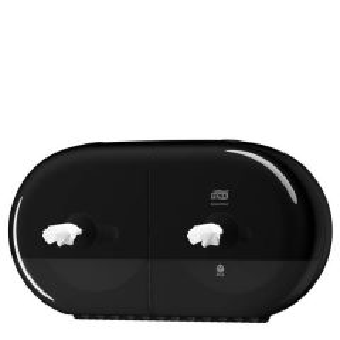Black Twin Elevation Dispenser for Tork T9 Mini SmartOne Toilet Roll