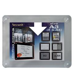 """Securit Window Grey Poster Frame with Suction Cups A3 16x22.5"""" / 39x52cm"""