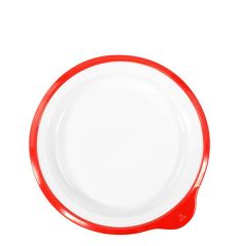 "Omni Healthcare White Melamine Low Plate With Red Rim 7"" / 18cm"