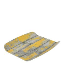 """Tura Rustic Yellow Paint Effect Melamine 1/2 Curved Tray 10.4x12.8"""" / 26.5x32.5cm"""