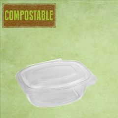 Bioware PLA Rectangular Clear Hinged Lid Deli Container 250ml / 9oz