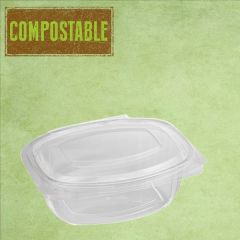 Bioware PLA Rectangular Clear Hinged Lid Deli Container 375ml / 12oz
