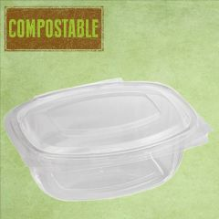 Bioware PLA Rectangular Clear Hinged Lid Deli Container 750ml / 26oz