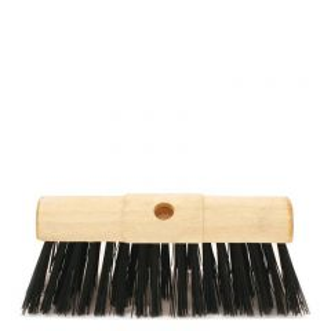 "Wooden Yard Brush Head with Black Nylon Bristles 13"" / 33cm"