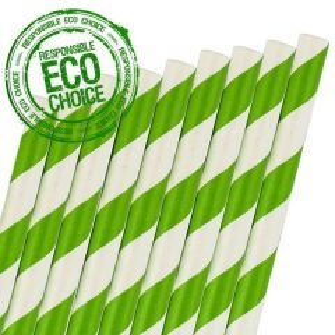 """Green & White Stripe Retro Paper Straw 6mm Bore 8"""" / 20cm"""