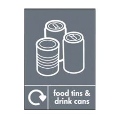 Food Tins & Drink Cans Recycling Sticker 200x150mm