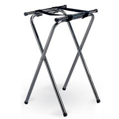 """Chrome Plated Double Bar Folding Tray Stand 19x16.5"""" Top 31"""" High"""