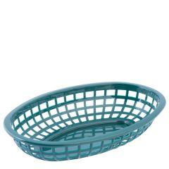 Forest Green Oval Classic Plastic Food Basket 24x15x5cm