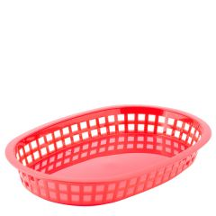 Red Oval Chicago Plastic Food Basket 27x18x4cm