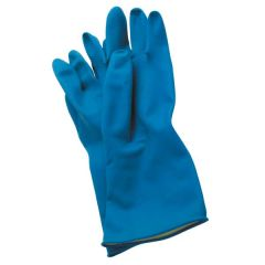 Premium Blue Flock Lined Rubber Gloves Pair Large