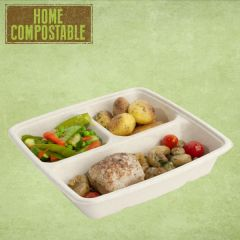 Sabert Home Compostable BePulp 3 Compartment Square Tray 23x23x4cm