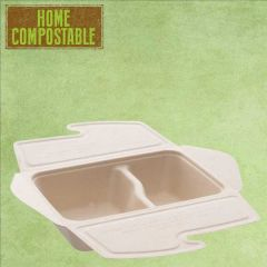 Sabert Home Compostable BePulp 2 Compartment Meal Box To Go 500/300ml 21x15x5cm