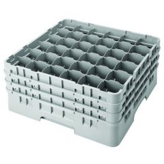 Cambro 25 Compartment Grey Glass Camrack Glasses up to 19.4cm Tall / 8.7cm Diameter