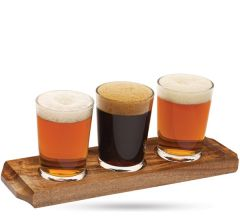 "Wooden Beer / Wine Flight Board with 3 Wells 11x3.5"" / 29x9cm"