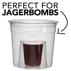 Disposable Plastic Jagerbomb Shot Glass Tumbler 25ml CE