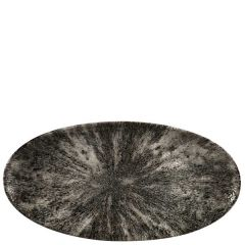 """Churchill Studio Prints Stone Quartz Black Chefs' Oval Plate 13.625x6.75"""" / 34.7x17.3cm"""