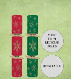 """Tom Smith Recyclable Red & Green Snowflake Cracker 9"""" / 23cm"""