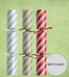 """Tom Smith Recyclable Silver, Gold & Red Striped Christmas Cracker Mixed Box 11"""" / 28cm"""