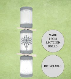 """Tom Smith Recyclable Silver & White Snowflake Christmas Cracker 12"""" / 30cm"""